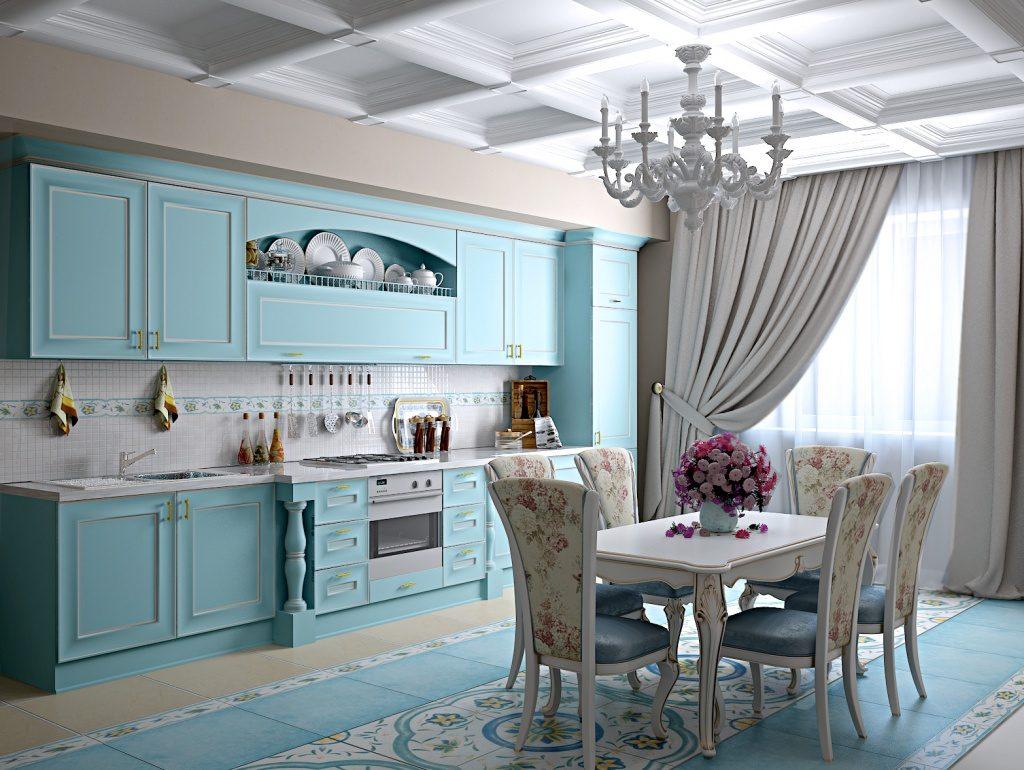кухня голубая какие подобрать обои