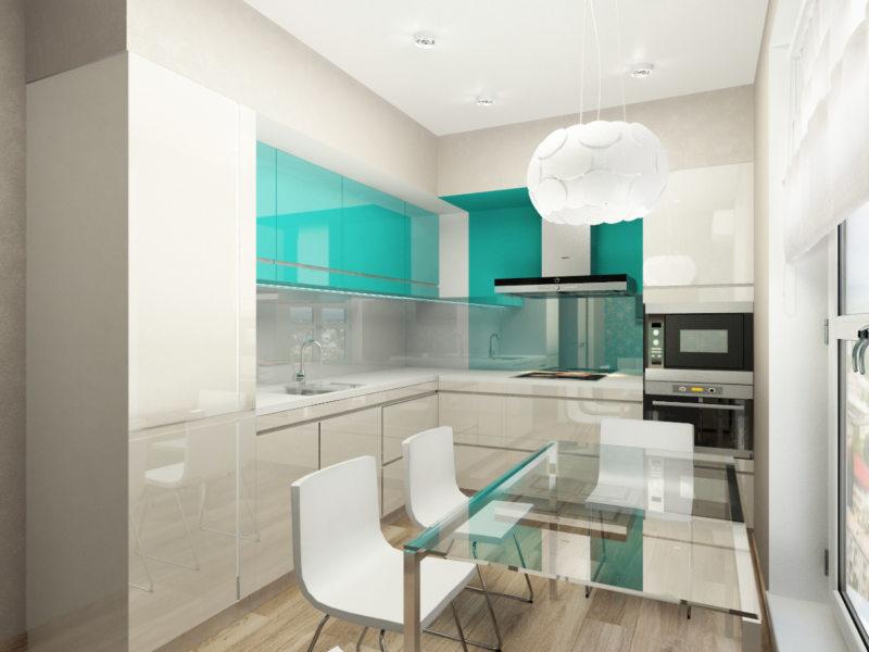 кухня в белом и бирюзовом цветах