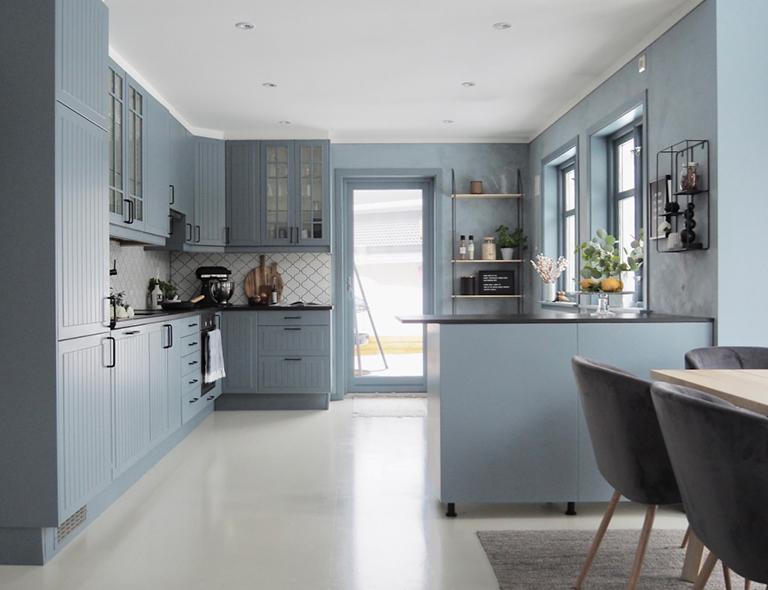 кухня кантри голубая