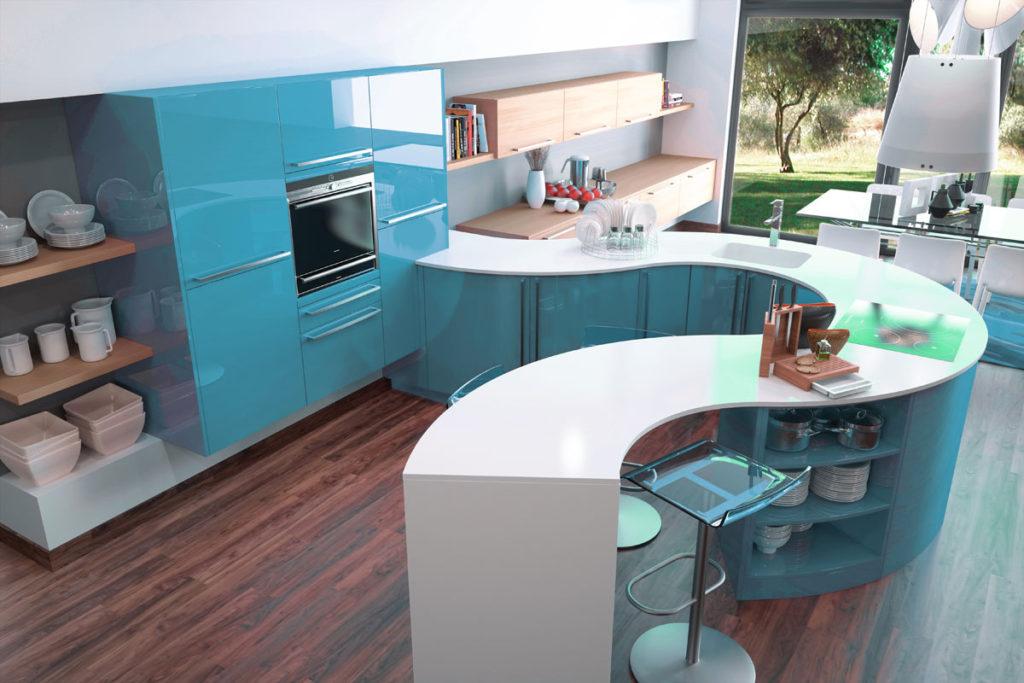столешница под голубую кухню