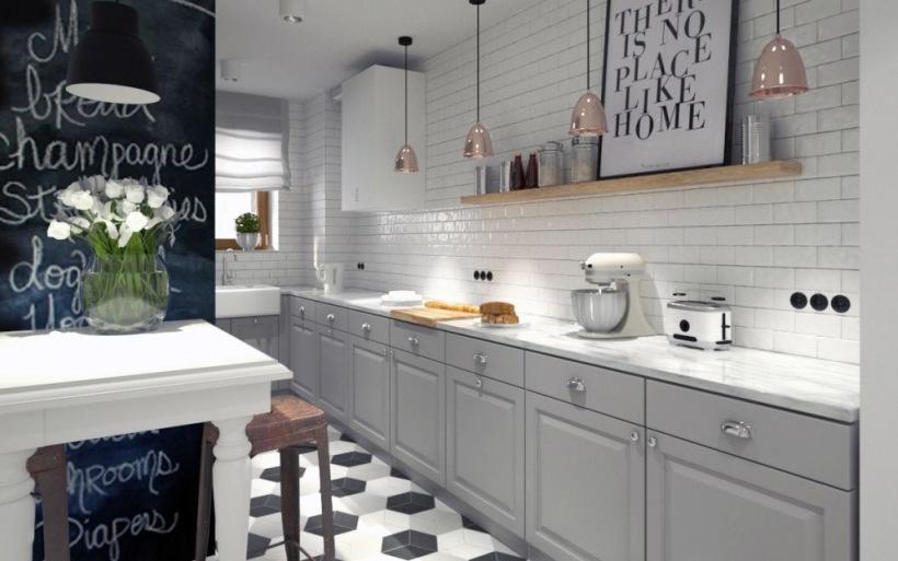 бело серая кухня какие обои