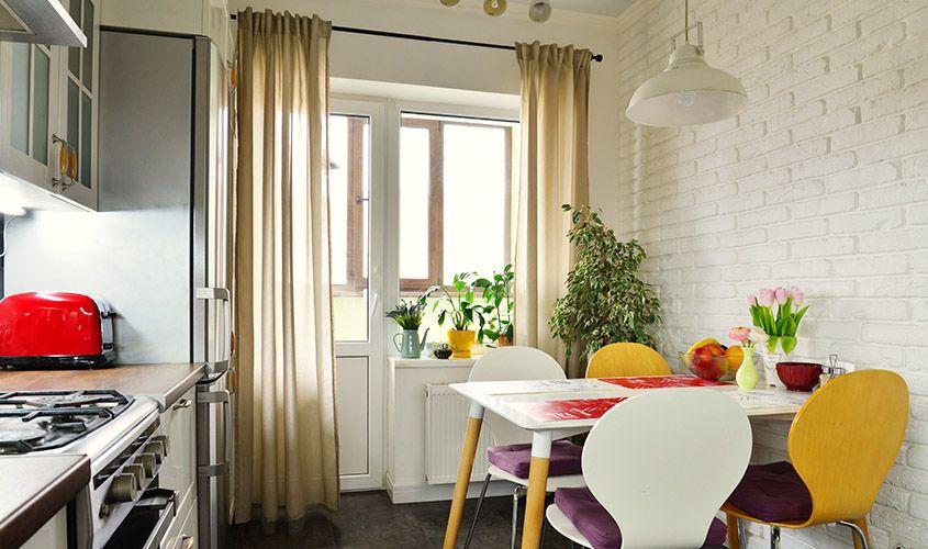 занавески на кухню длинные