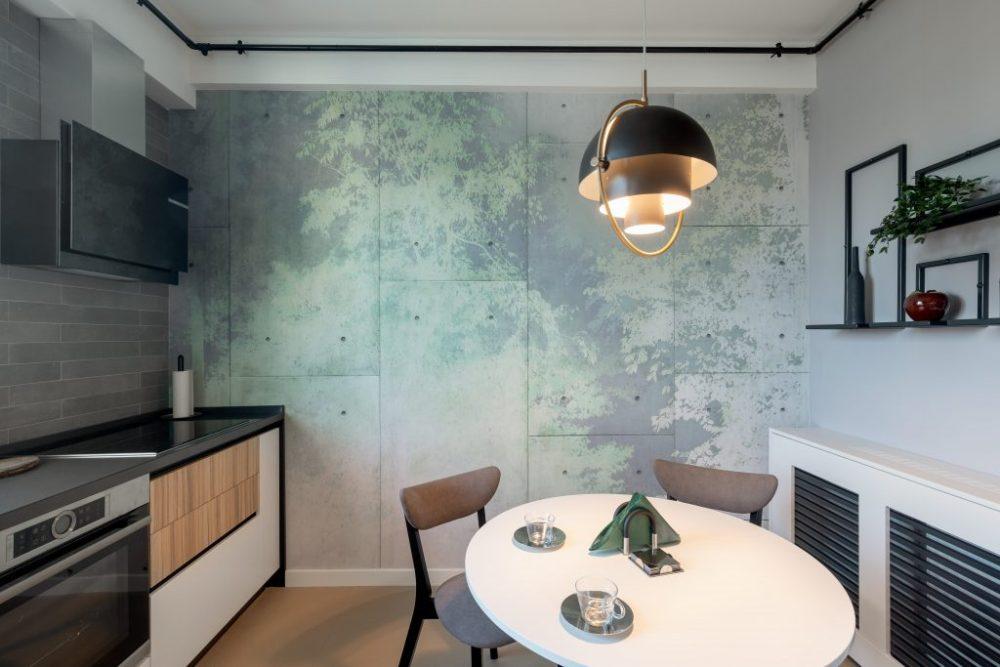 кухня серый бетон