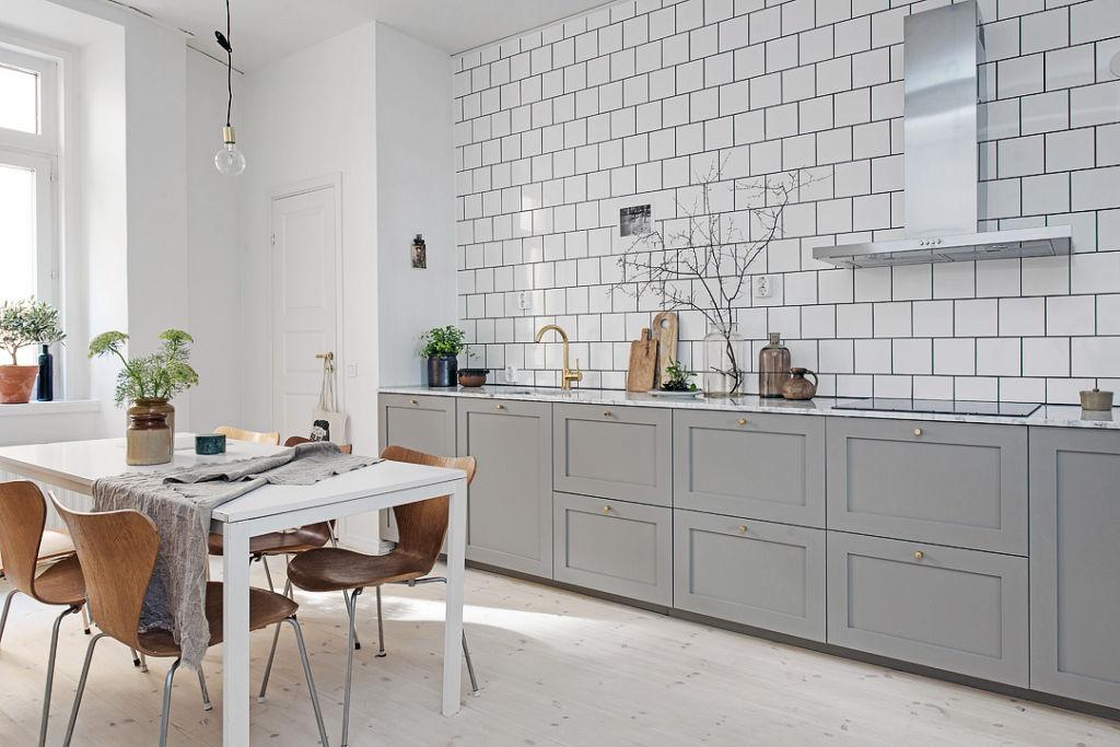 современные кухни серо белые
