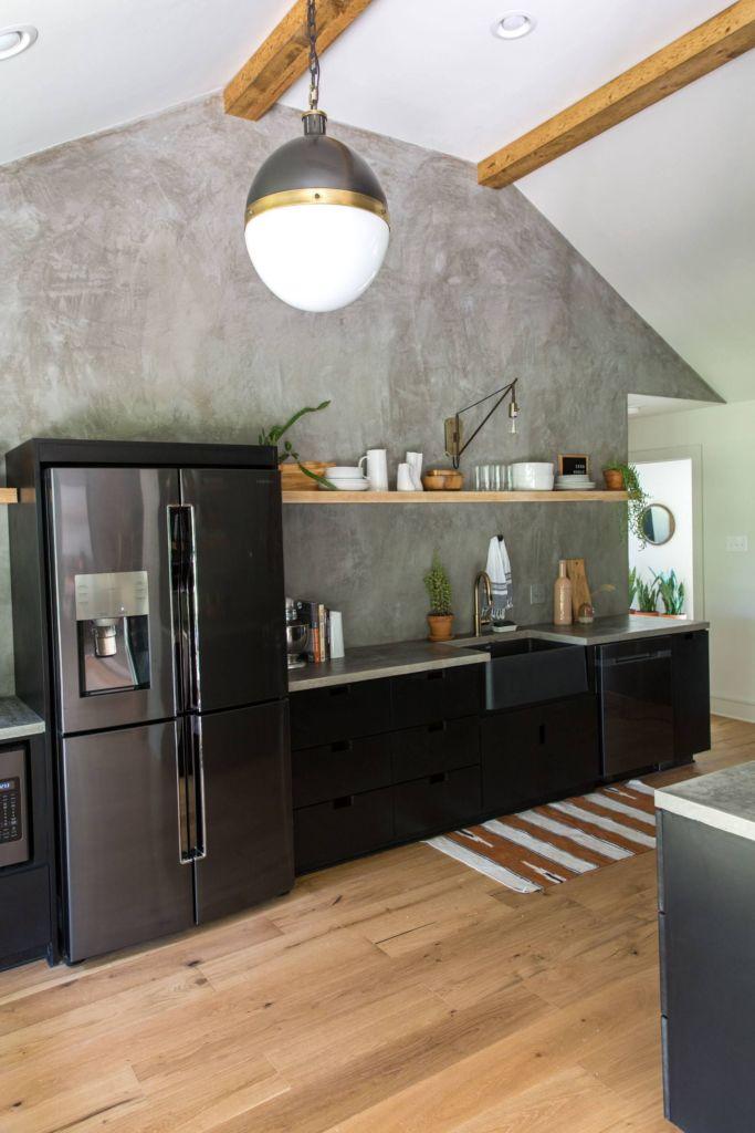 кухня бетон светлый