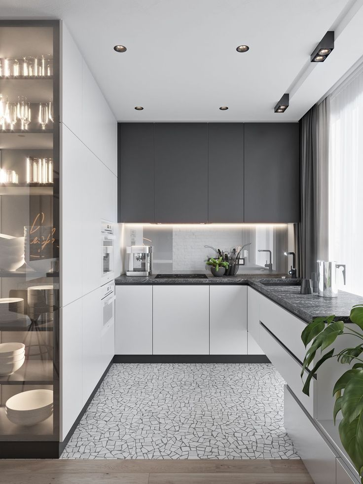 кухня +в серо белых цветах