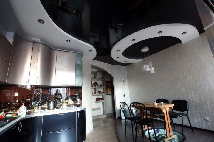 красивые подвесные потолки на кухне