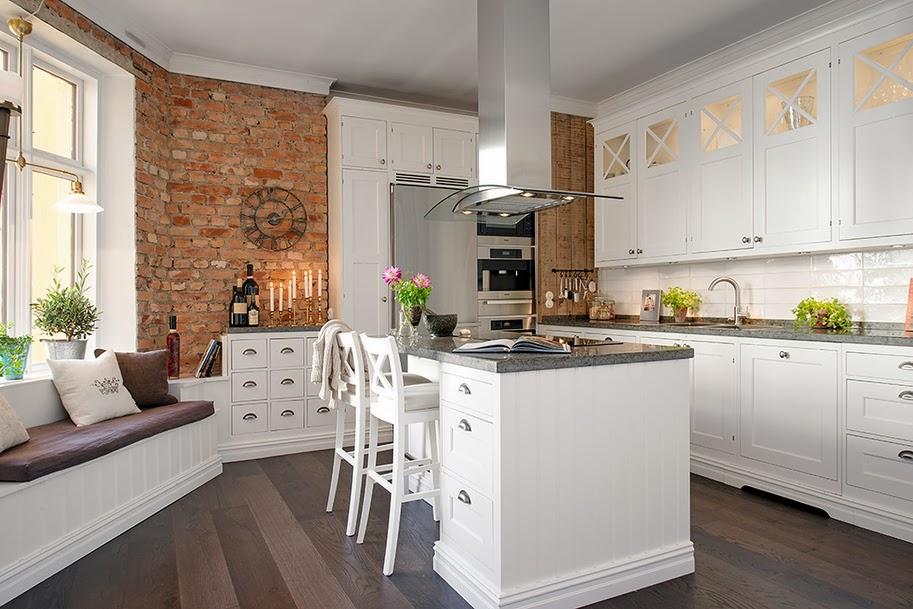 дизайн кухни под кирпич
