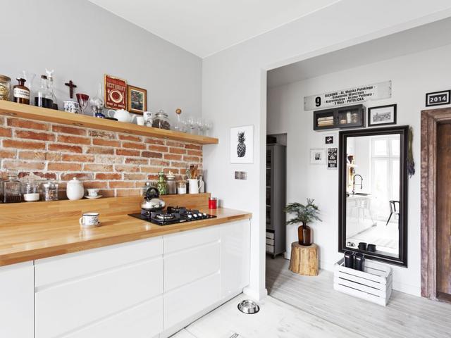 интерьер кухни под кирпич