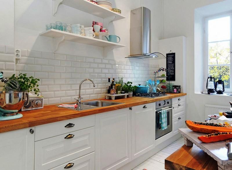 отделка стен кухни кирпичом