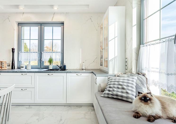дизайн кухни в доме с двумя окнами