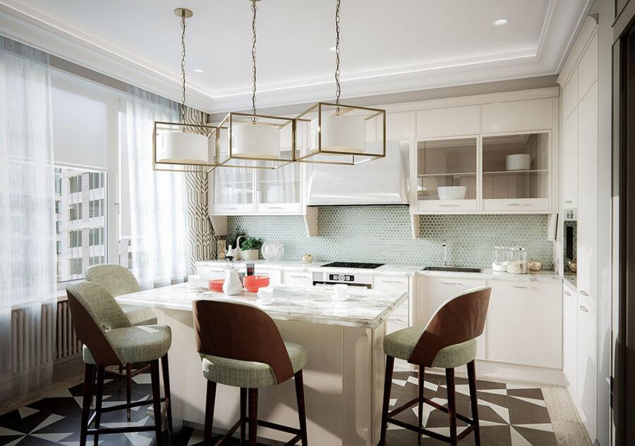 кухня два окна дизайн фото