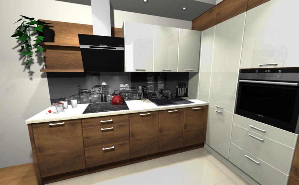 кухня с коричневым гарнитуром