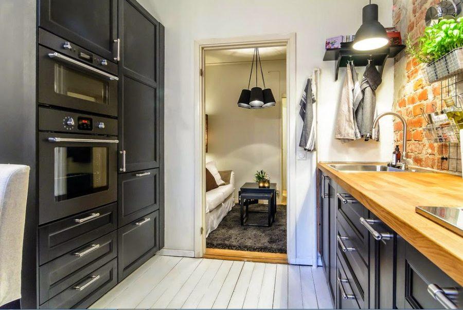 кухонный гарнитур черный матовый