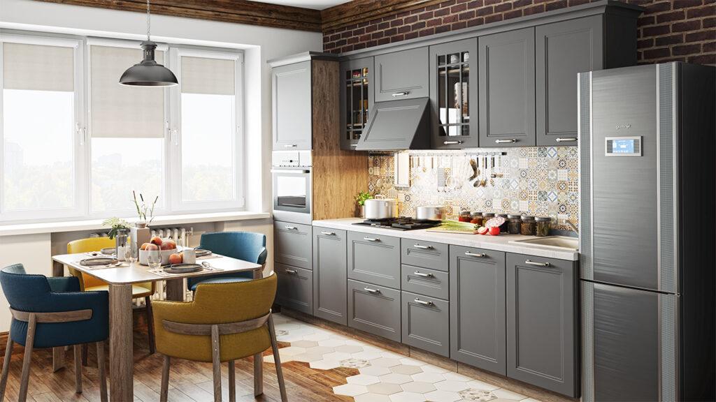 кухня в серых тонах дизайн