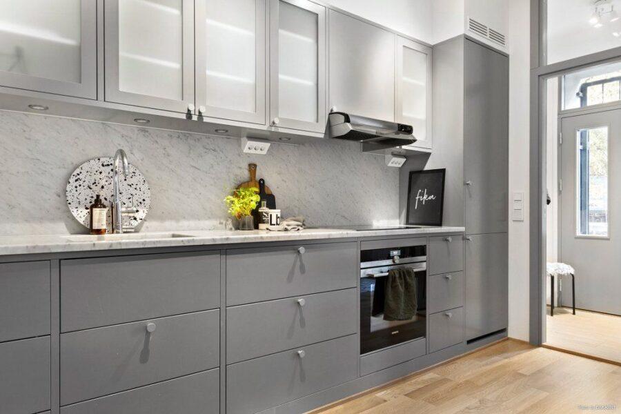 сочетание цвета серого кухня