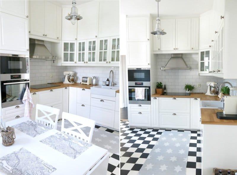 очень маленькая кухня с холодильником