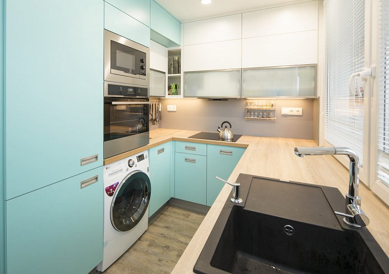 как установить стиральную машину на кухне