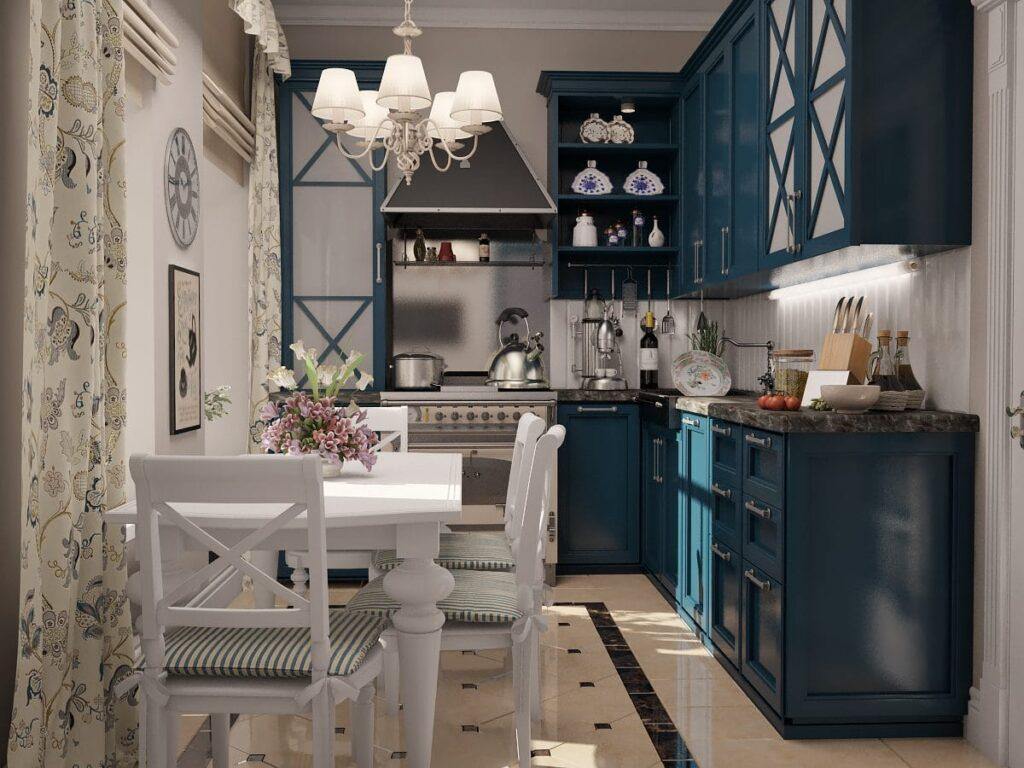 синие кухни современный стиль