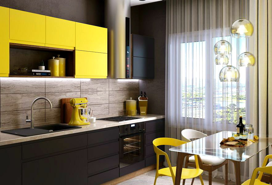 современная желтая кухня
