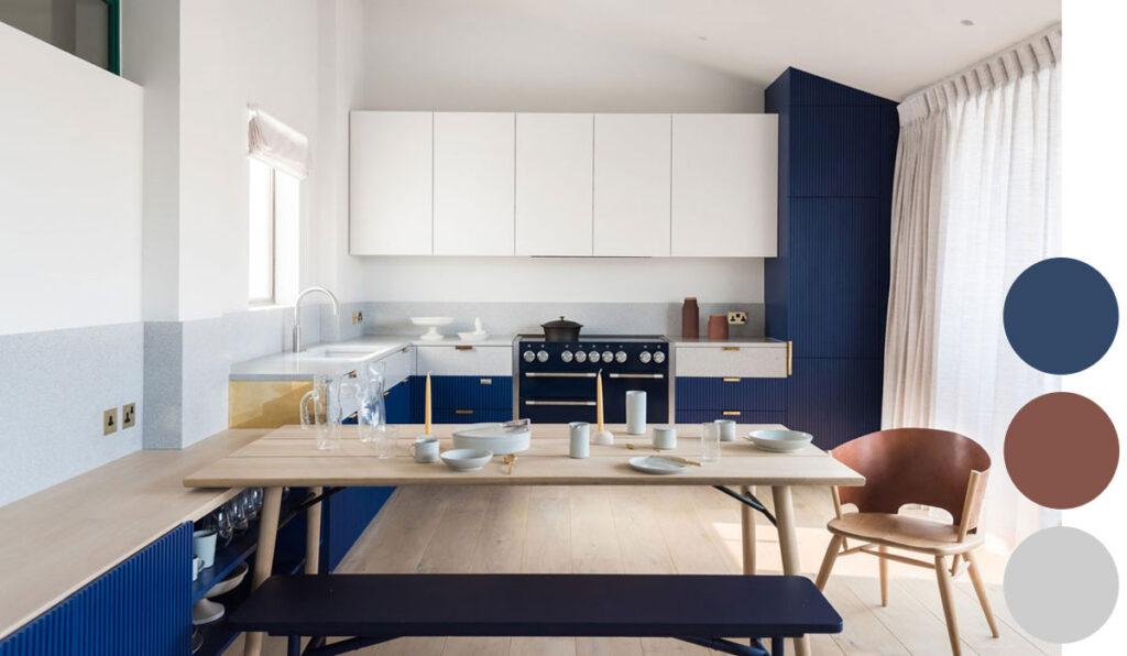 голубая синяя кухня
