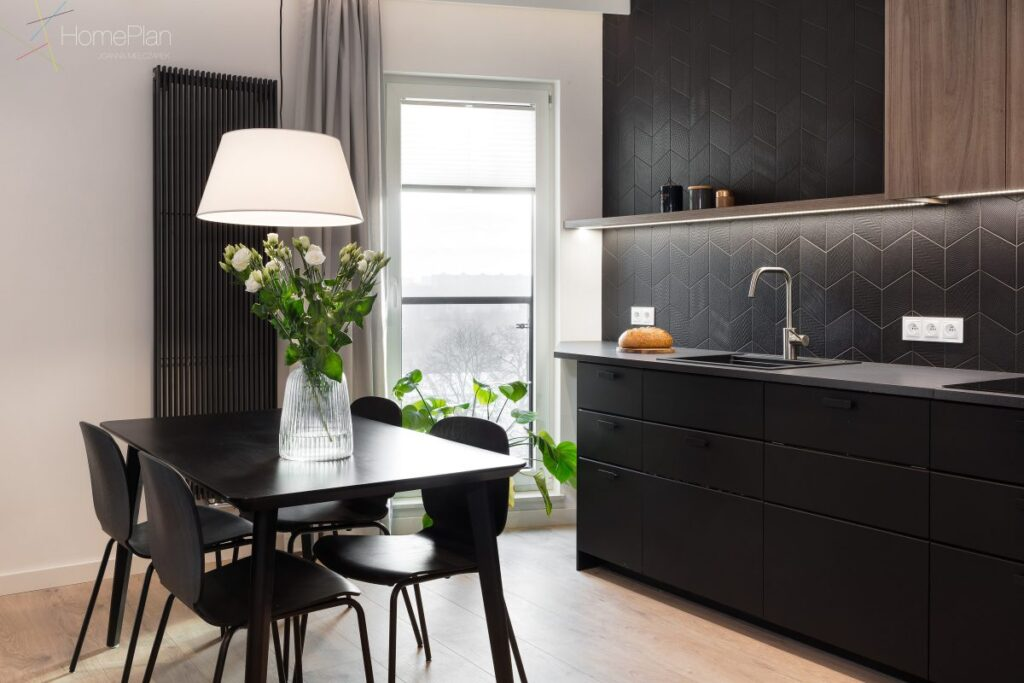 кухонный гарнитур черный глянец фото